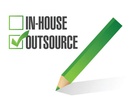 outsource: in-house outsource check mark illustration design over white