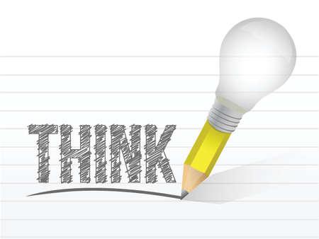 전구 연필로 작성된 메시지를 생각합니다. 그림 디자인