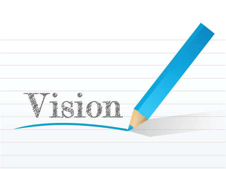 vision. pencil and notepad text illustration design Vector