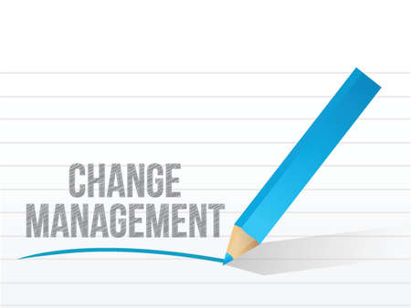 employee development: change management written over a notepad paper. illustration design