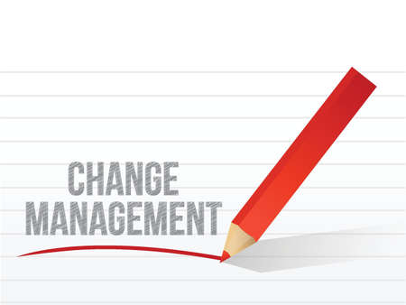 change management written over a notepad paper. illustration design