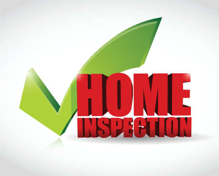 building inspector: home inspection approval check mark illustration design