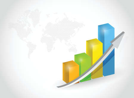 successful business graph illustration design and world map Illustration