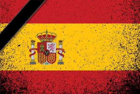in memory spanish flag. spain grunge flag over white. illustration design