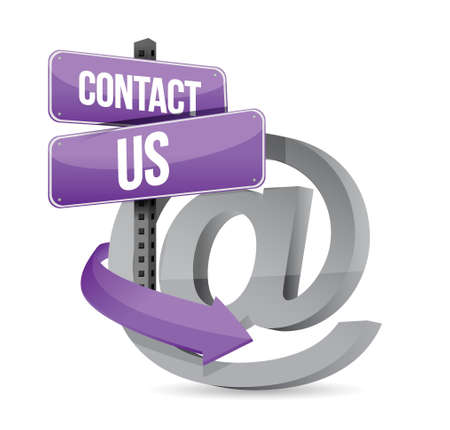 e  mail: E mail contact us at sign illustration design over white