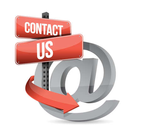 E mail contact us at sign illustration design over white Vector