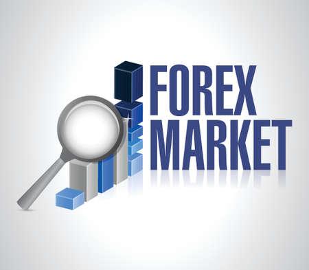 forex market under review illustration design over a white background