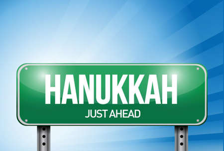 hanukkah road sign illustration design over a white background Vector