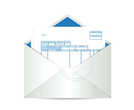 bill payment: invoice receipt inside mailing envelope illustration design over a white background Illustration