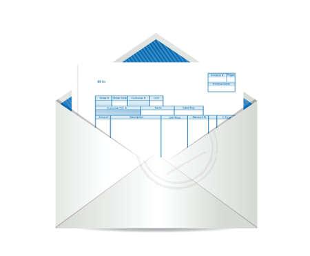 cuenta: recepción de la factura dentro de espacio constructivo correo ilustración sobre un fondo blanco