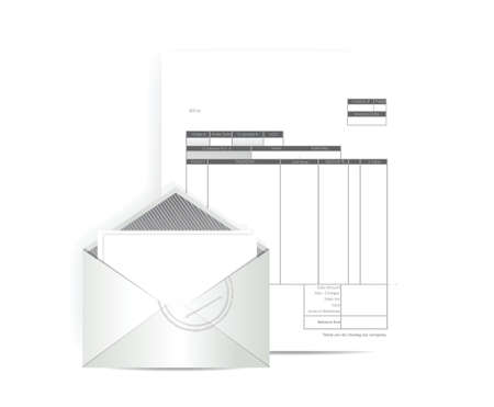 remit: invoice receipt mail illustration design over a white background