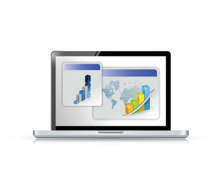 laptop and business graphs illustration design over white Stock Vector - 21371618