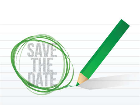 save the date written on a notepad paper. illustration design Vector