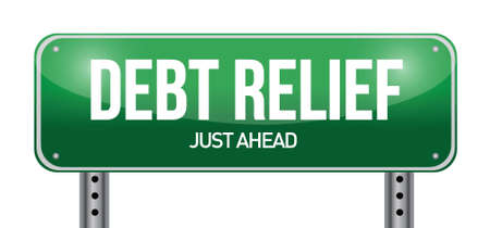 debt relief road sign illustration design over a white background Vector