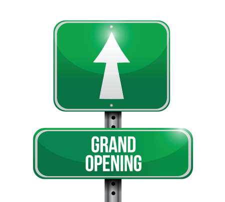 grand opening road sign illustration design over a white background Vector
