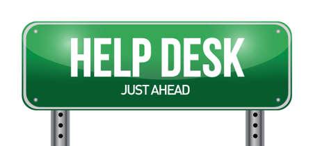 help desk road sign illustration design over a white background