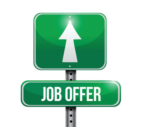job offer road sign illustration design over a white background
