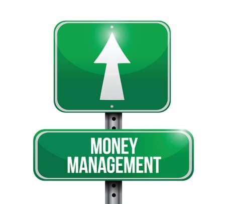 manage: money management road sign illustration design over a white background Illustration