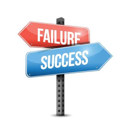 fiasco: failure versus success road sign illustration design over a white background