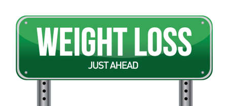 weight loss road sign illustration design over a white background Vector