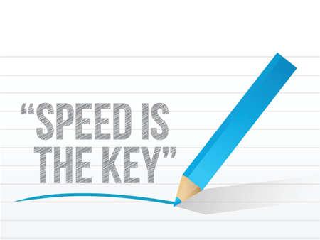 速度は、メモ帳の紙に書かれたキーです。イラスト デザイン