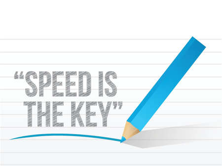 speed is the key written on a notepad paper. illustration design Stock Vector - 21371687