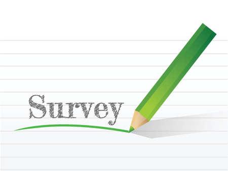 word survey written on a notepad paper. illustration design Çizim