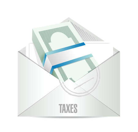 windfall: dollar bills taxes mail illustration design over white