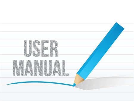 guidebook: user manual written on a notepad paper illustration design