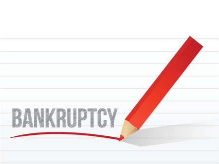 faillite: faillite �crit sur un bloc-notes papier. conception d'illustration