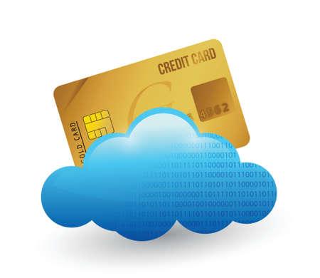 신용 카드의 구름. 흰색 위에 그림 디자인