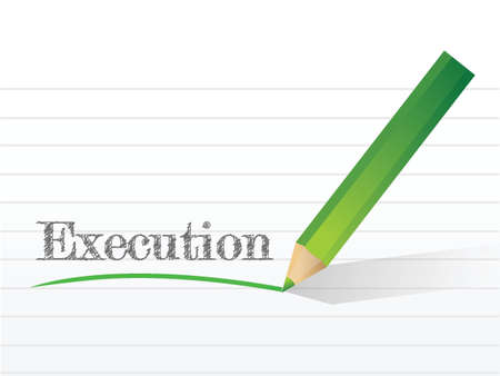execution: execution written on a notepad paper. illustration design