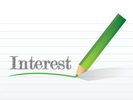 interest written on a notepad paper. illustration design