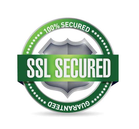 transakcji: ssl pieczęć lub zabezpieczona ilustracja projektowe tarcza nad białym