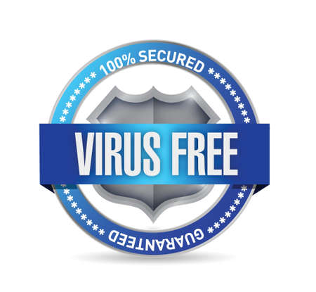 computer network: virus free seal or shield illustration design over white