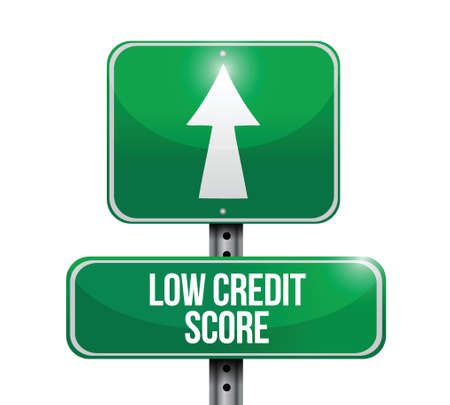 credit report: low credit score road sign illustration design over white