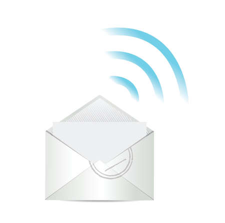 email. mail and wifi internet connection illustration design Vector