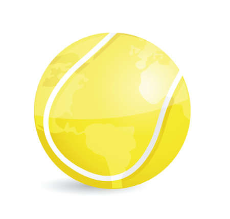 tennis world map ball illustration design over a white background Çizim