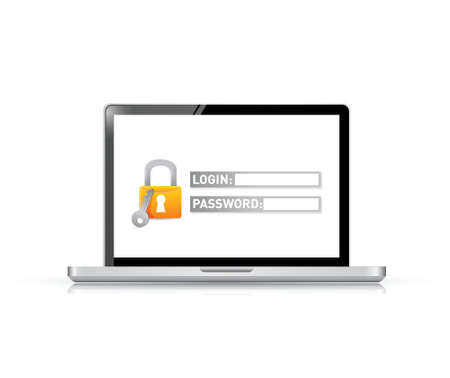 security screen. login information required. illustration design over white
