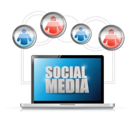 technolgy: social media technology connection communication. illustration design over white Illustration