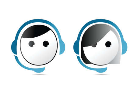 face with headset: male and female customer support representatives. illustration design over white