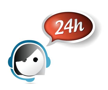 call center agent: 24 hour customer support illustration design over white