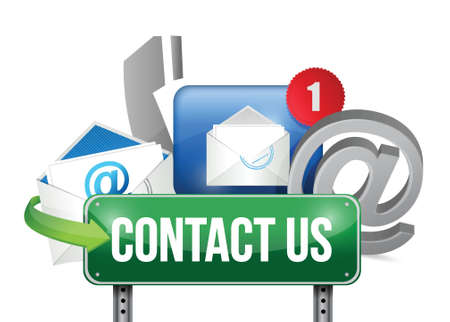 contact icons: contact us sign and concept illustration design over white