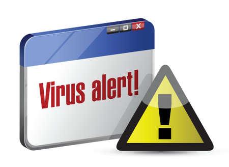 virus alert: browser internet virus alert. illustration design over white Illustration