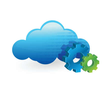 cloud computing and working gears. illustration design over white Stock Vector - 21505964
