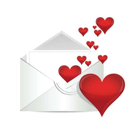 love letter illustration design over a white background