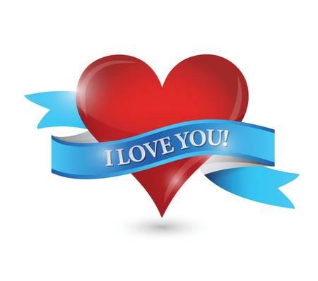 Ik hou van je hart illustratie ontwerp op een witte achtergrond Stock Illustratie
