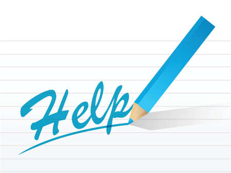 the word help written on a pice of paper. illustration design