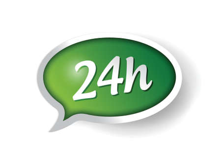 24 hour: 24 hour support message bubble illustration design over white