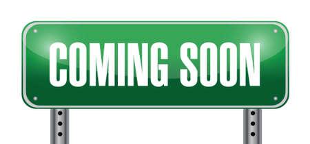 coming soon road sign illustration design over white Vettoriali